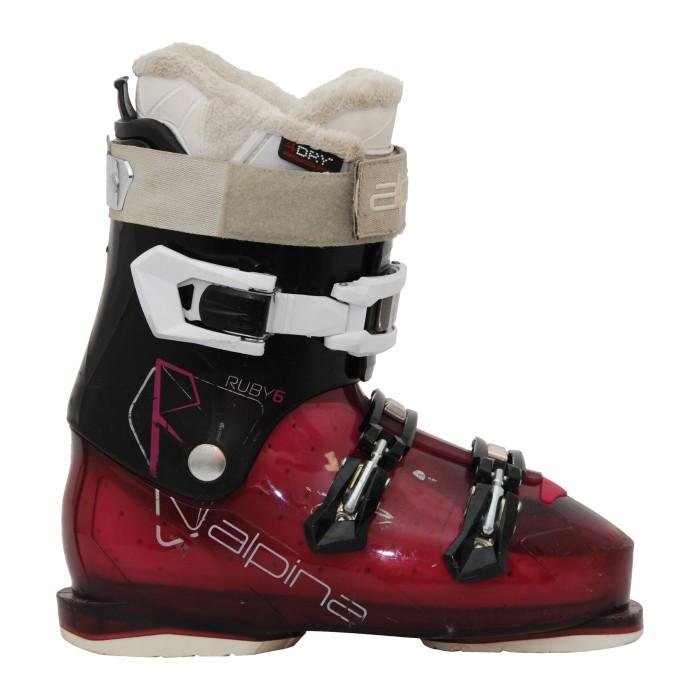 Bota de esquí usada Alpina Ruby 6 negro/púrpura