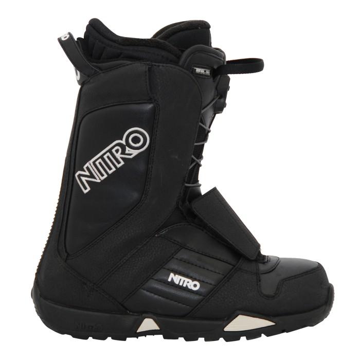 Boots de snowboard occasion Nitro noir et blanc.