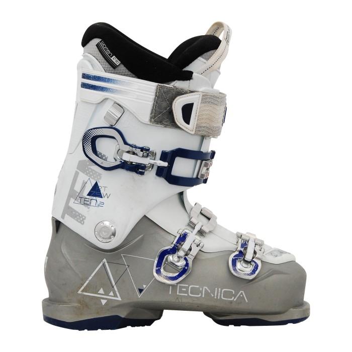 Scarpe da sci usate Tecnica dieci 2 rt 75 w bianco grigio