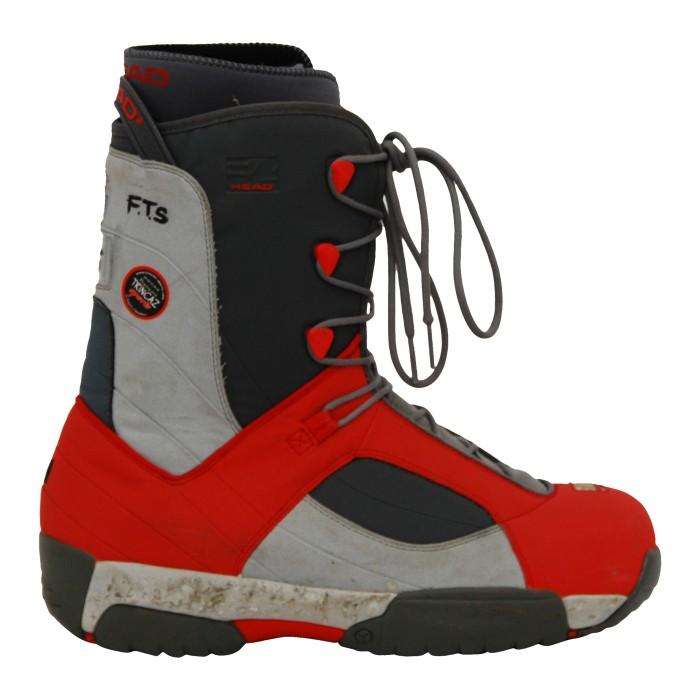Boots de snowboard occasion Head EA gris/rouge