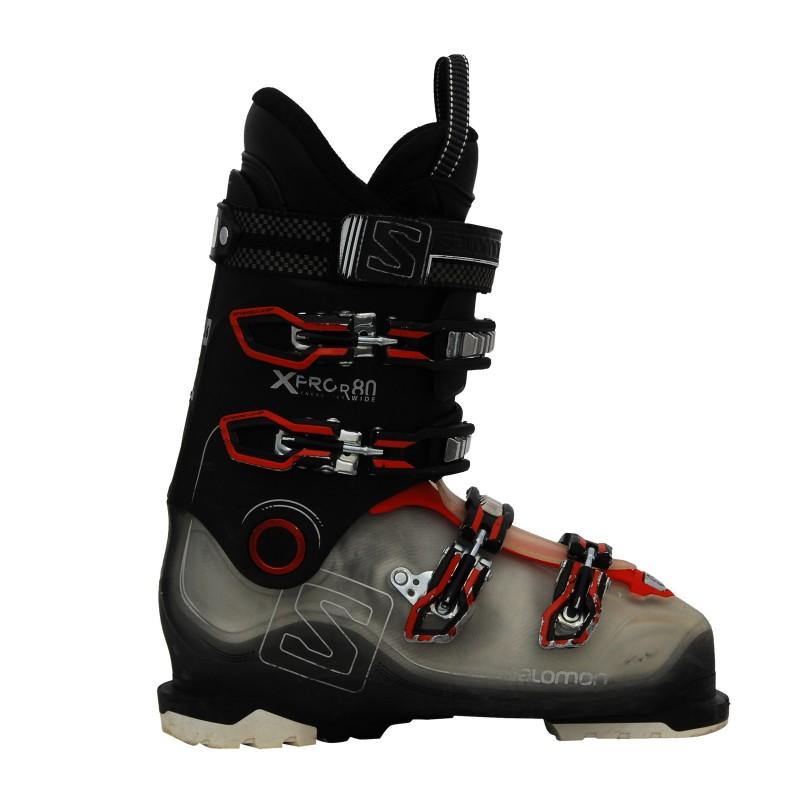 Chaussure ski occasion Salomon Xpro R80 wide gris noir rouge qualité A