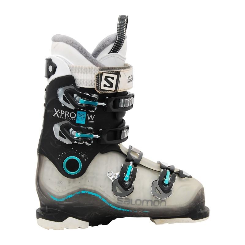 Chaussures de ski occasion Salomon xpro r80w noir/translucide/bleu qualité A