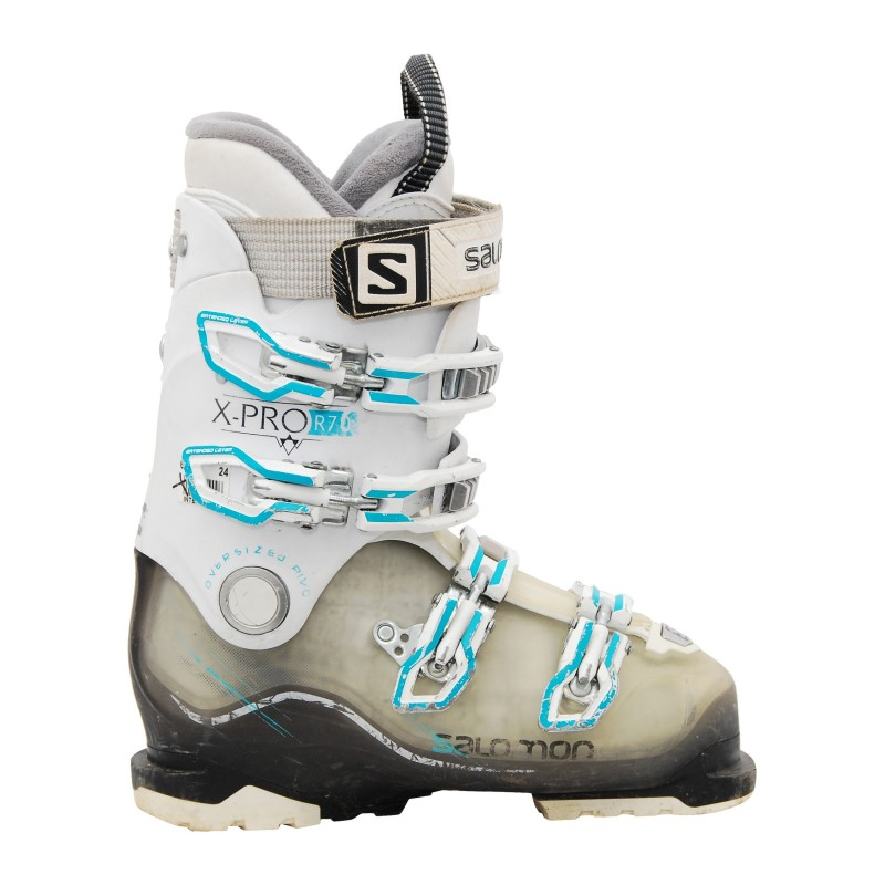 Chaussure ski occasion Salomon Xpro r70w blanc noir bleu qualité A