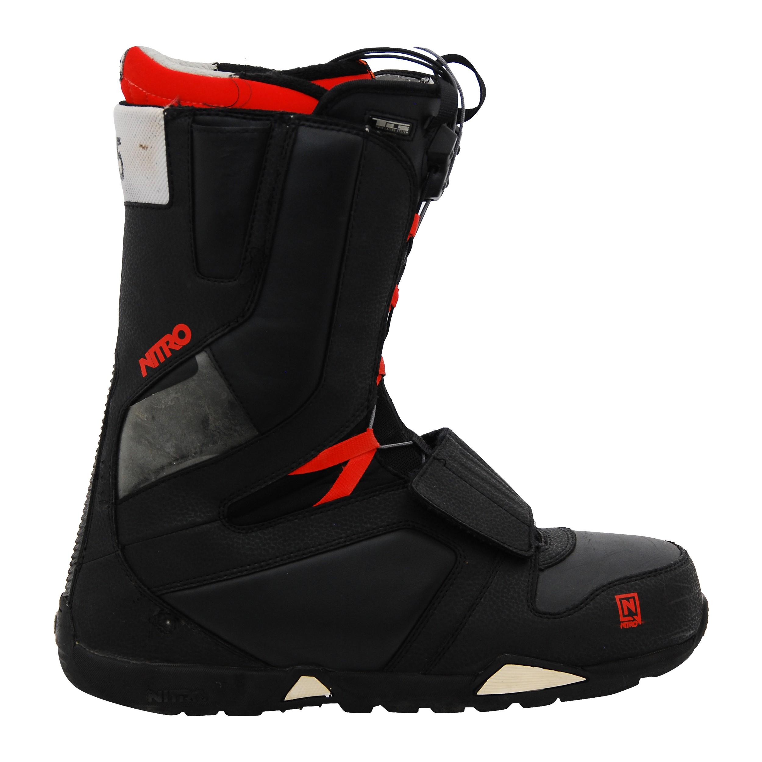 Boots occasion de snowboard NitroTLS noir et rouge