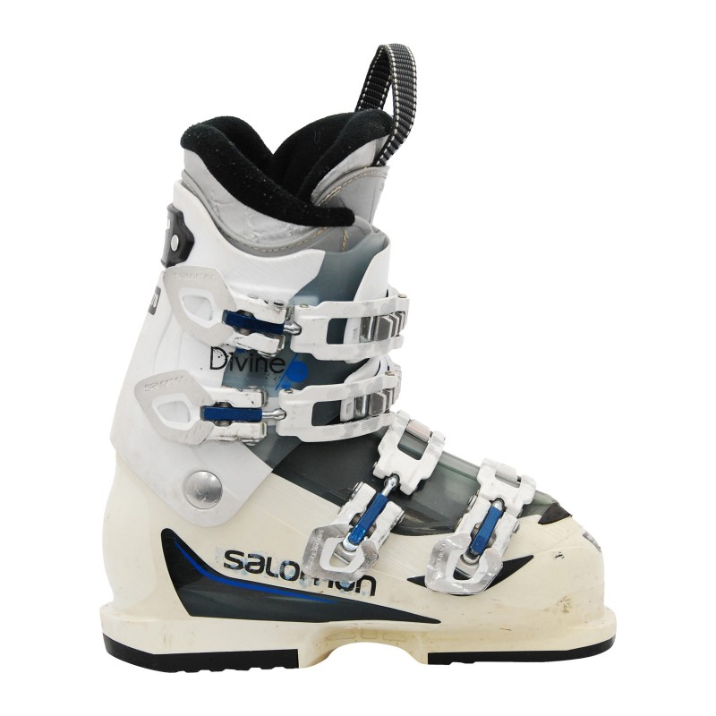 Chaussure de ski occasion Salomon Divine 550 blanc/bleu qualité A