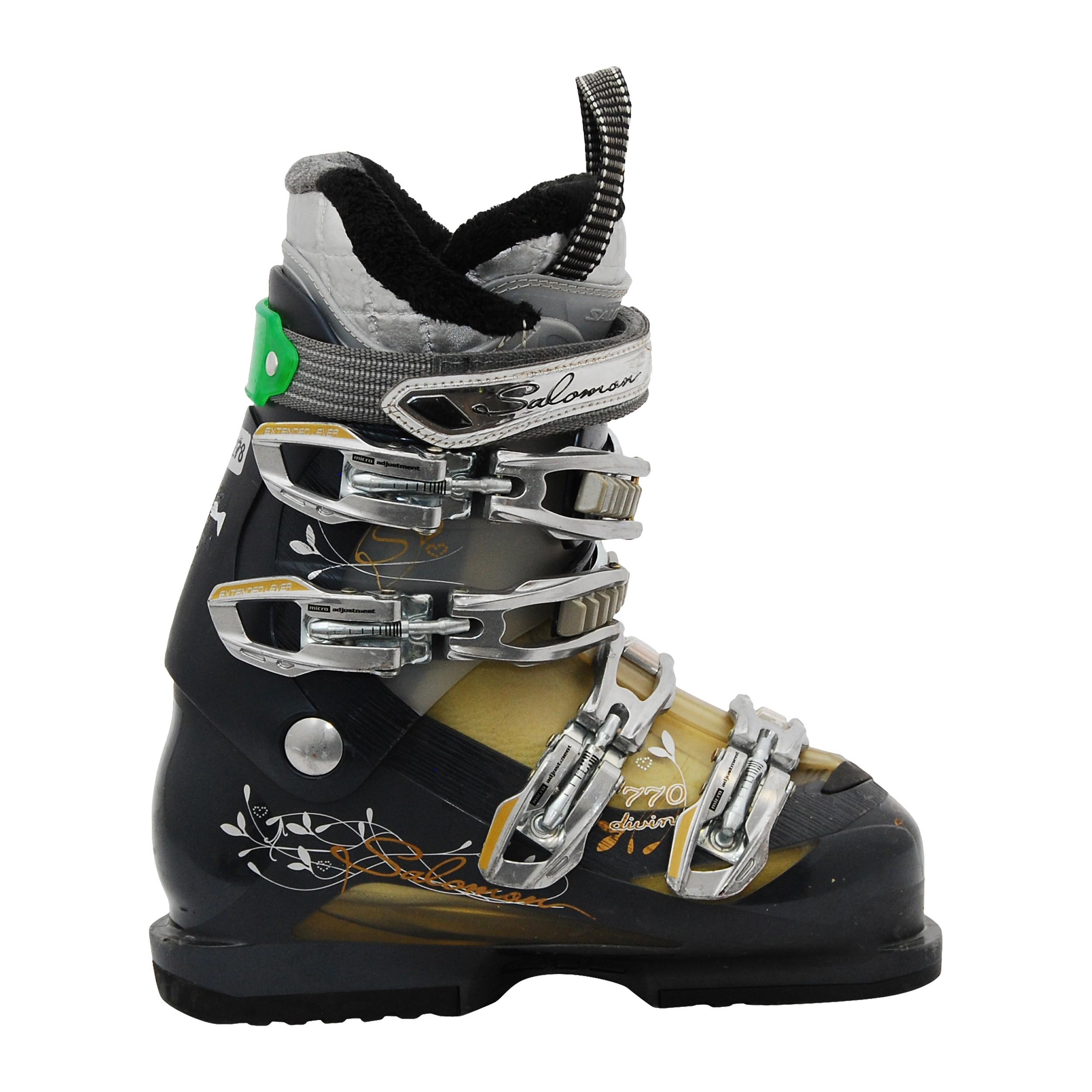Chaussure de ski occasion femme Salomon Divine 770 beigenoir vi8GK