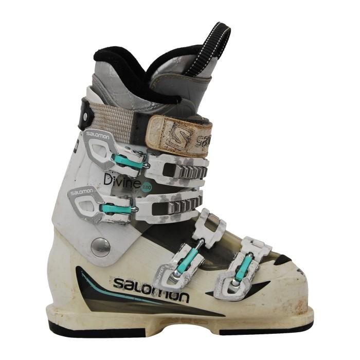 Bota de esquí usada Salomon Divine R80 blanco/verde