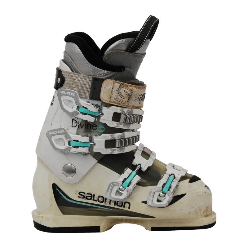 Chaussure de ski occasion Salomon Divine R80 blanc/vert qualité A