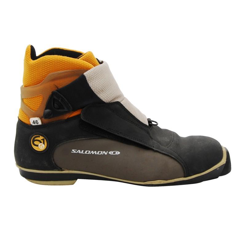 Chaussure ski fond occasion Salomon 6.61 gris/jaune SNS profil