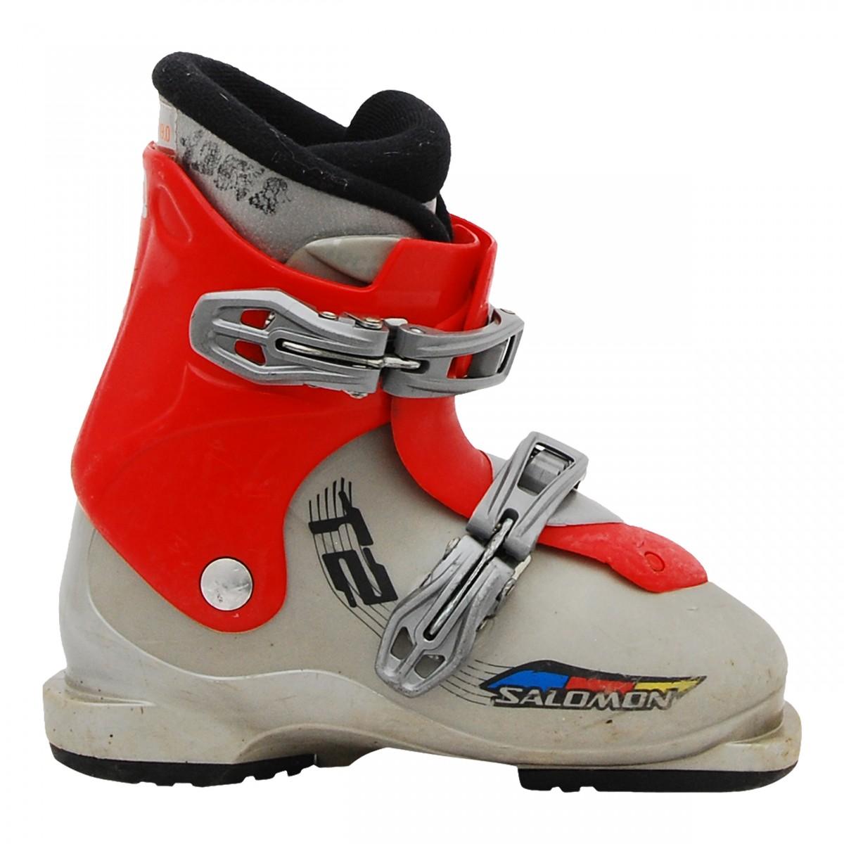 Détails sur Chaussure de Ski Occasion Junior Salomon T2 T3 gris rouge