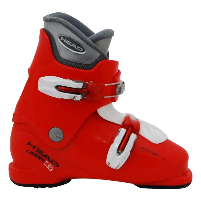 Kopf schnitzen Junior x1 x2 x3 rot-weißer Skischuh