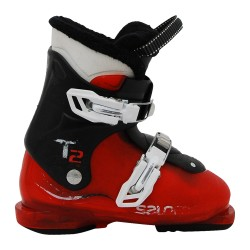 Chaussure de ski d'occasion junior Salomon T2 T3 rouge translucide noir