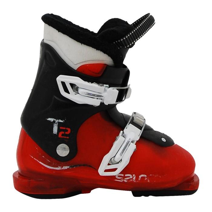 Junior Salomon T2 T3 Rot Transluzent Schwarz Skischuh