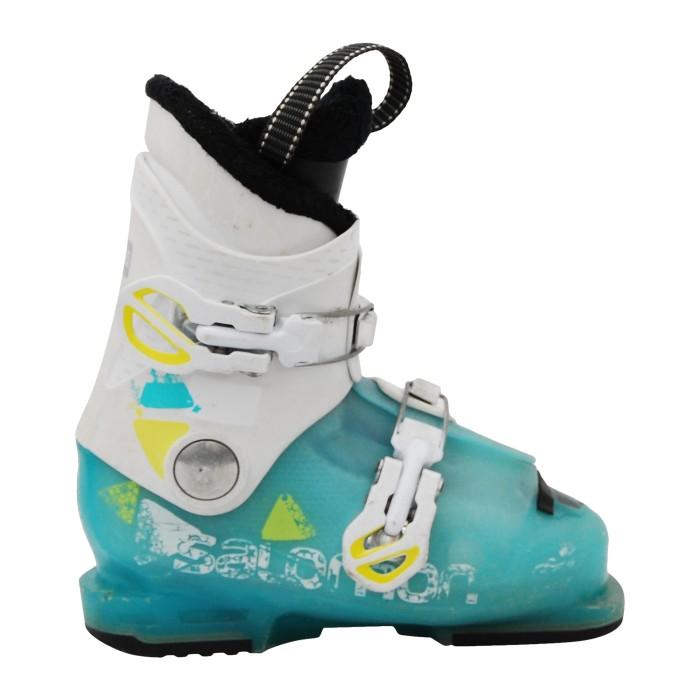 Salomon Junior T2 / T3 turquesa usado bota de esquí