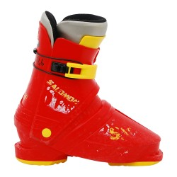 Gebrauchter Skischuh Salomon SX gelb rot