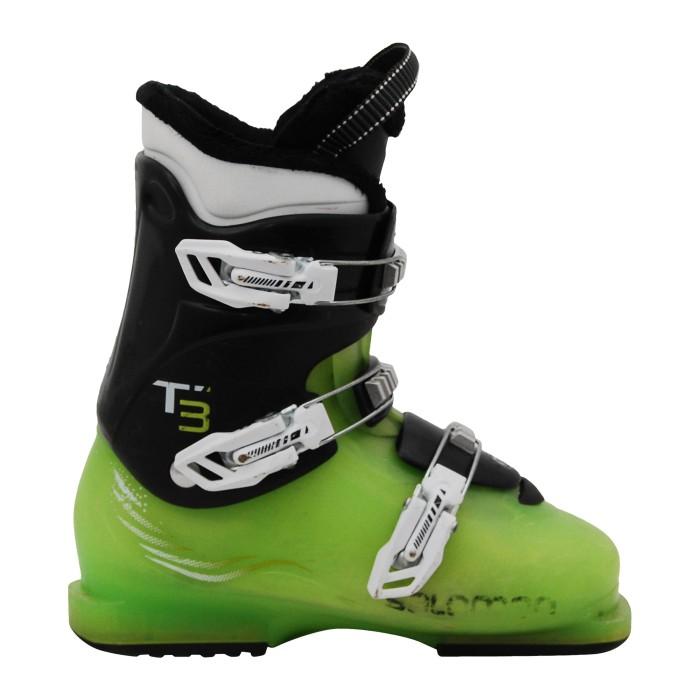 Chaussure de ski d'occasion junior Salomon T2 T3 noir/vert