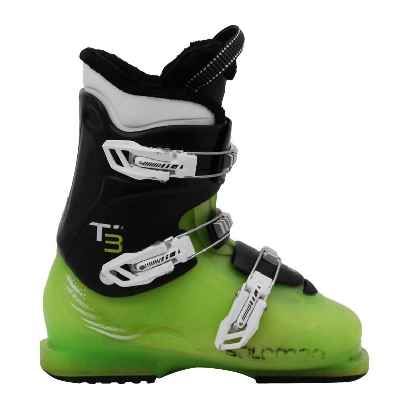 Chaussure de ski d'occasion junior Salomon T2 T3 rouge translucide noir