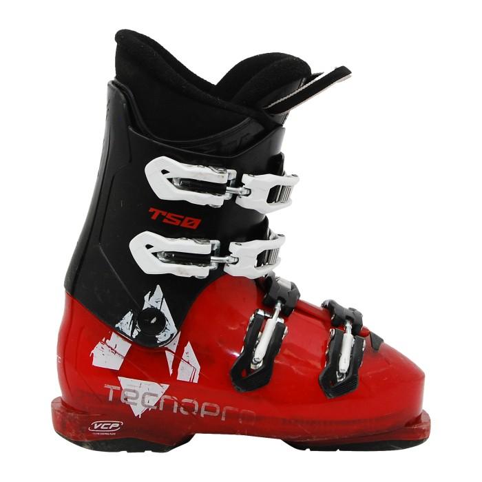 Bota de esquí junior usada Tecno pro T50 negro rojo