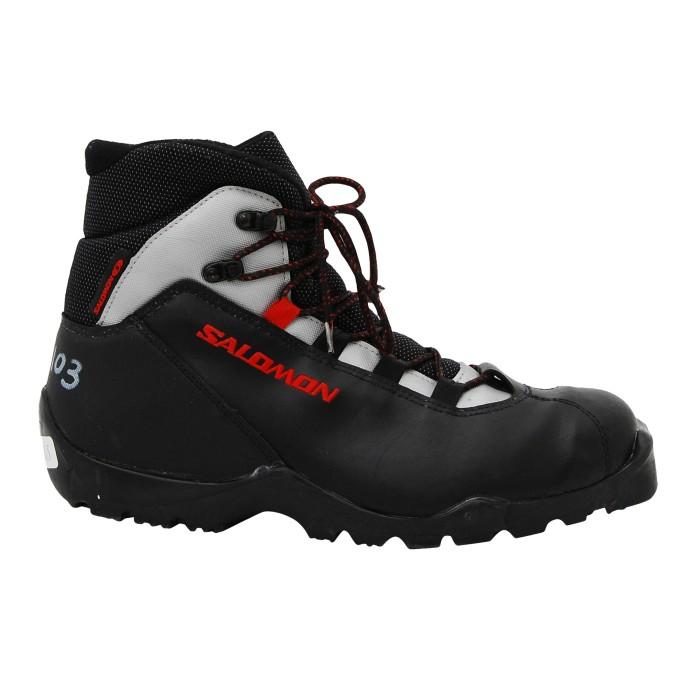 Chaussure ski fond occasion Salomon gris noir lacet