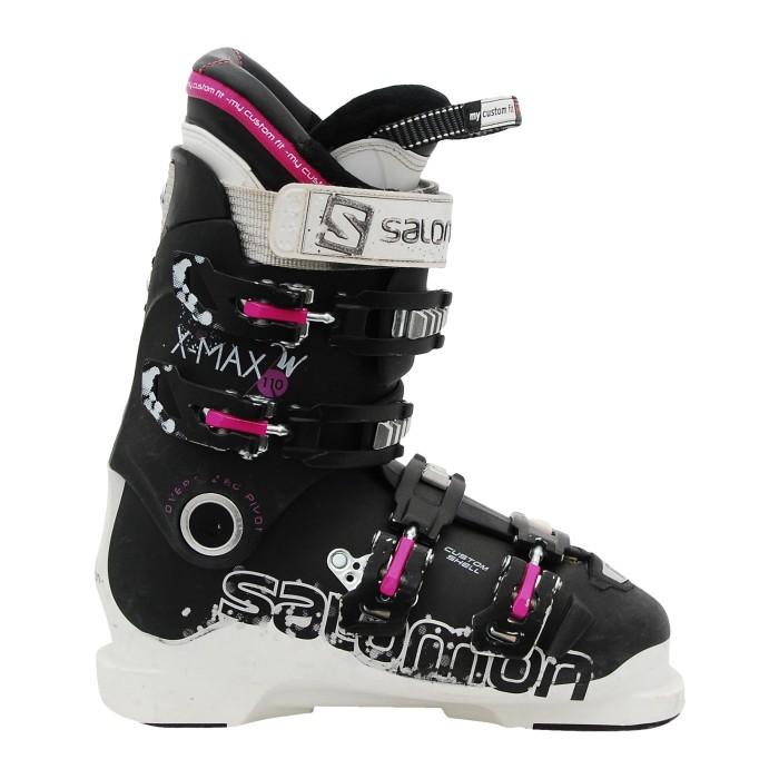Chaussure ski occasion Salomon Xmax w 110 noir blanc rose