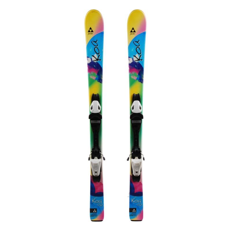 Ski Junior Fischer Koa Pink Blue Green + bindings