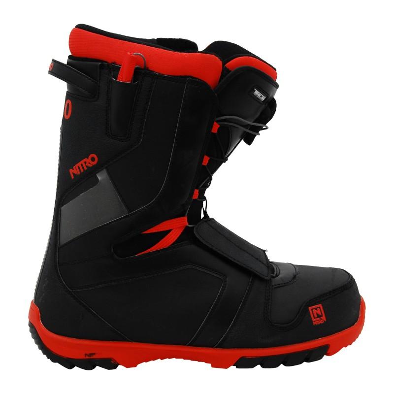 Boots de snowboard occasion Nitro TlS noir/semelle rouge