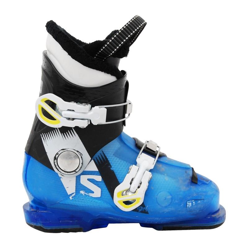 Chaussure de ski d'occasion junior Salomon T2/T3 jr noir bleu qualité A