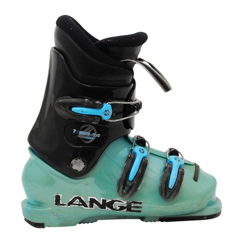 Chaussure de ski occasion junior Lange Team 7/8R noir et bleu qualité A