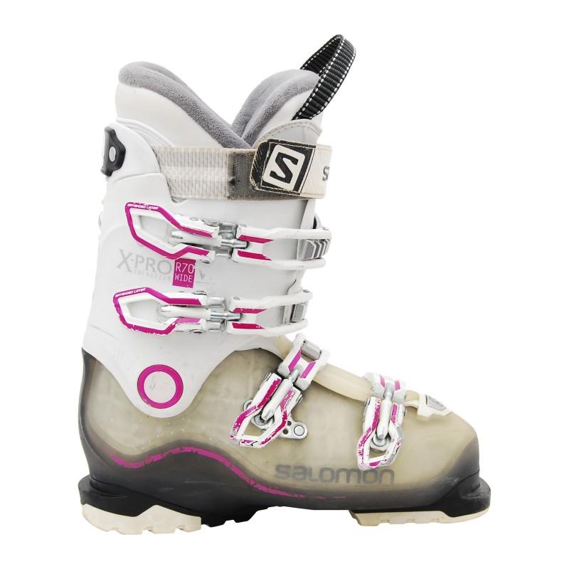 Chaussure ski occasion Salomon Xpro r70w wide blanc rose qualité A