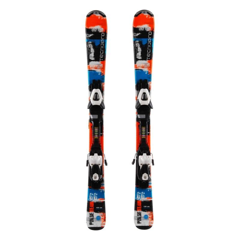 Tecno pro Pulse Team Junior Skiing schwarz / orange + Bindungen
