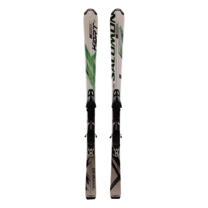 Ski verwendet Salomon Kart R weiß grün + Bindungen