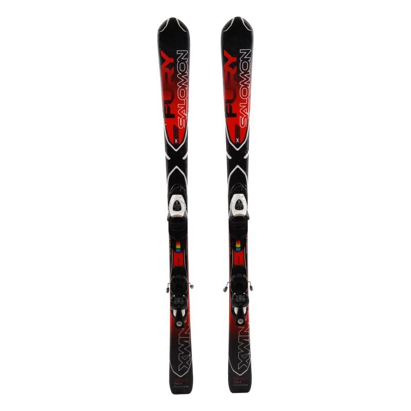 Junior Ski Salomon X Wing Fury negro / rojo + fijaciones