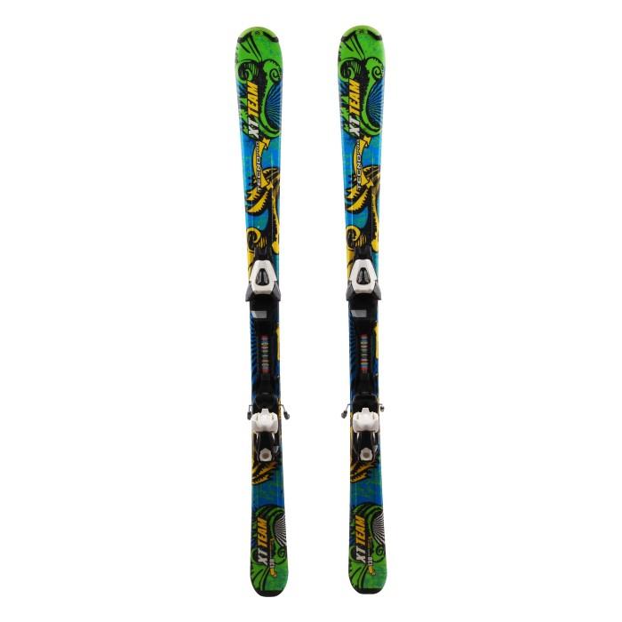 Used Tecno pro XT blue / green / yellow junior ski + bindings