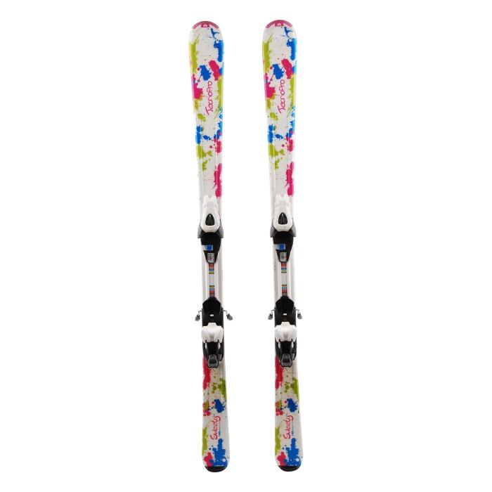 Junior ski Tecno pro Sweety Multicolor paint + bindings