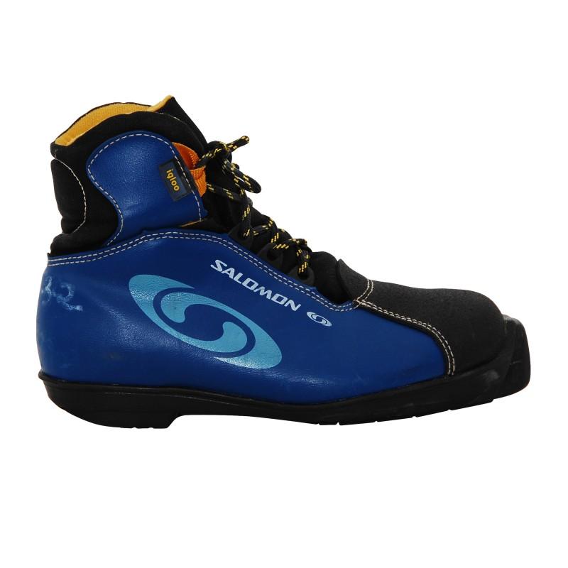 Chaussure ski fond occasion Salomon igloo junior bleu