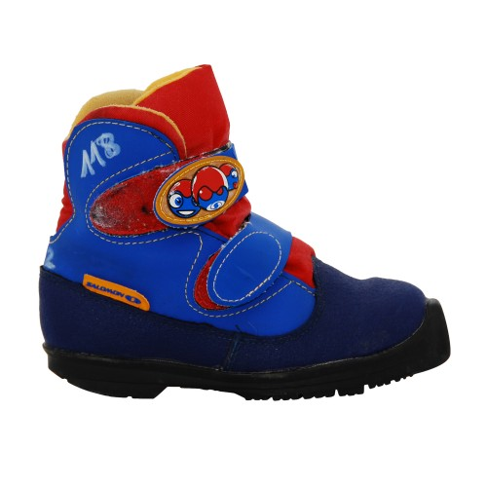 Chaussure ski fond occasion Salomon igloo junior bleu rouge jaune