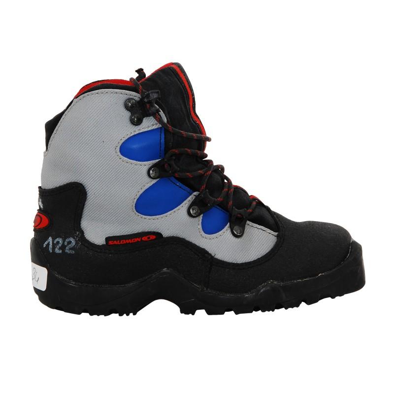Chaussure ski fond occasion Salomon Junior gris bleu noir Qualité A