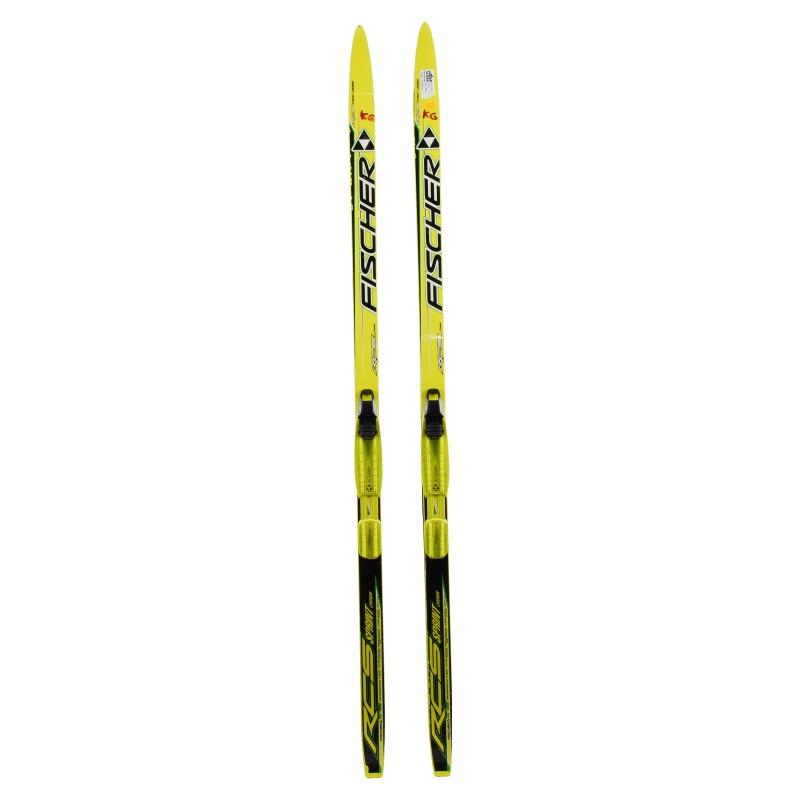 Ski de fond occasion Fischer RCS Sprint Crown yellow Junior + fixation norme NNN