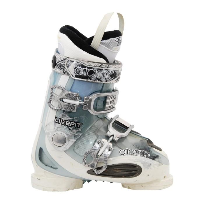 Las botas de esquí en vivo atómicas se ajustan más blanco/azul