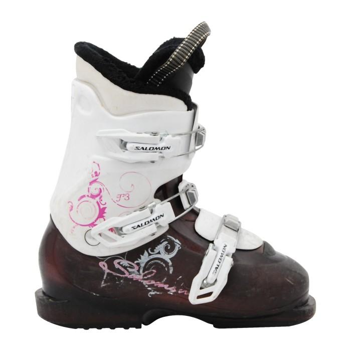 Salomon Junior T2/ T3 púrpura zapato de esquí usado