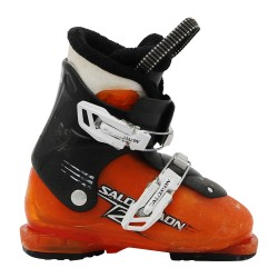 Chaussure de ski occasion junior Salomon T2 T3 orange noir