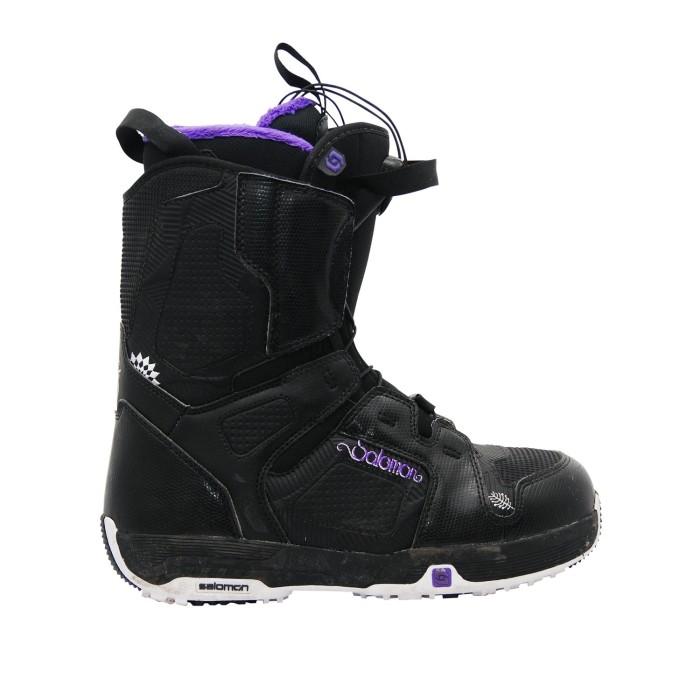 Botas usadas salomon perla negra y púrpura