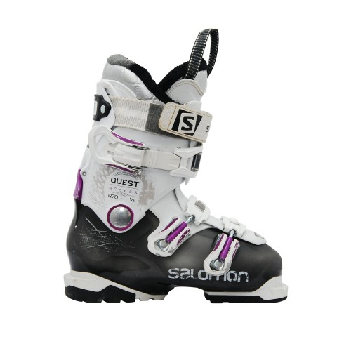 Gebrauchte Skischuhe Salomon Quest access R70w weiß schwarz violett