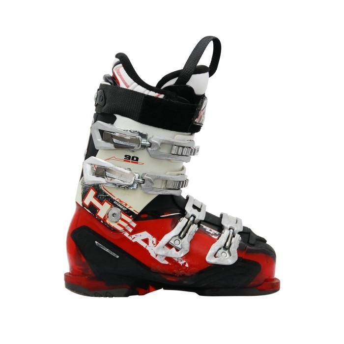 Cabeza siguiente borde bota de esquí rojo blanco