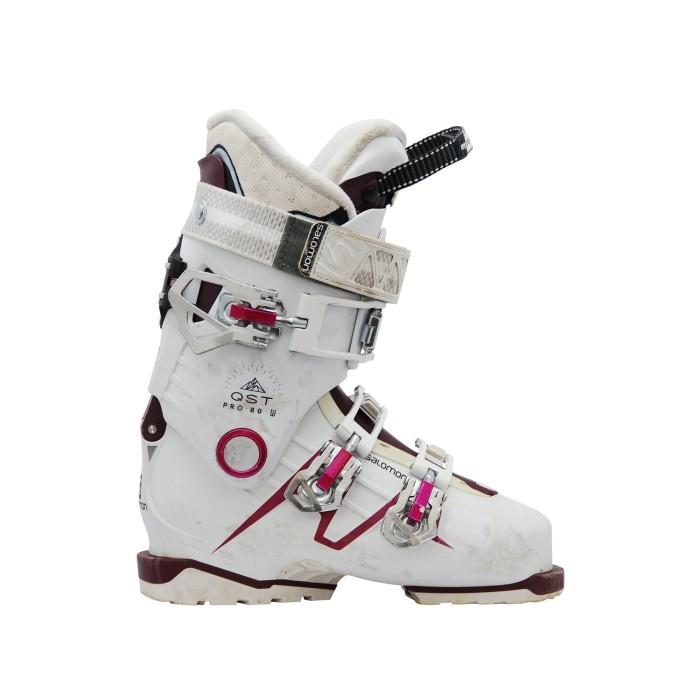 Chaussures de ski occasion Salomon QST Pro 80 W blanc rose