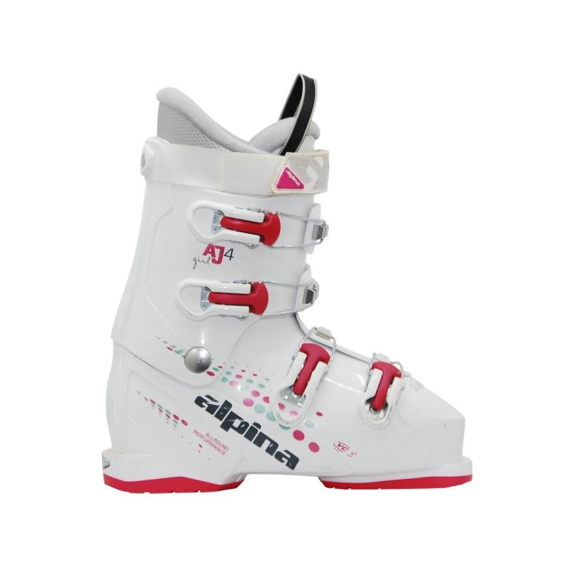 Chaussure de ski occasion junior Alpina AJ 4 girl blanc rose - Qualité A