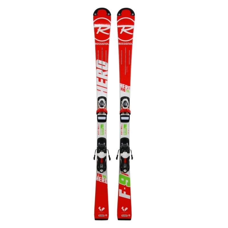 Ski occasion junior Rossignol hero FIS SL pro + fixations - Qualité A