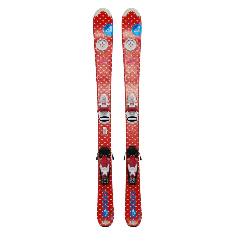 Ski occasion Junior Roxy Girly Coeur rouge + Fixations - Qualité A