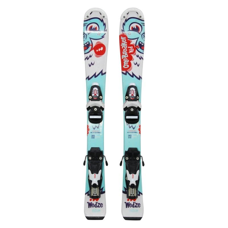 Ski occasion junior Wedze Onebreaker kids yéti turquoise + fixations - Qualité A