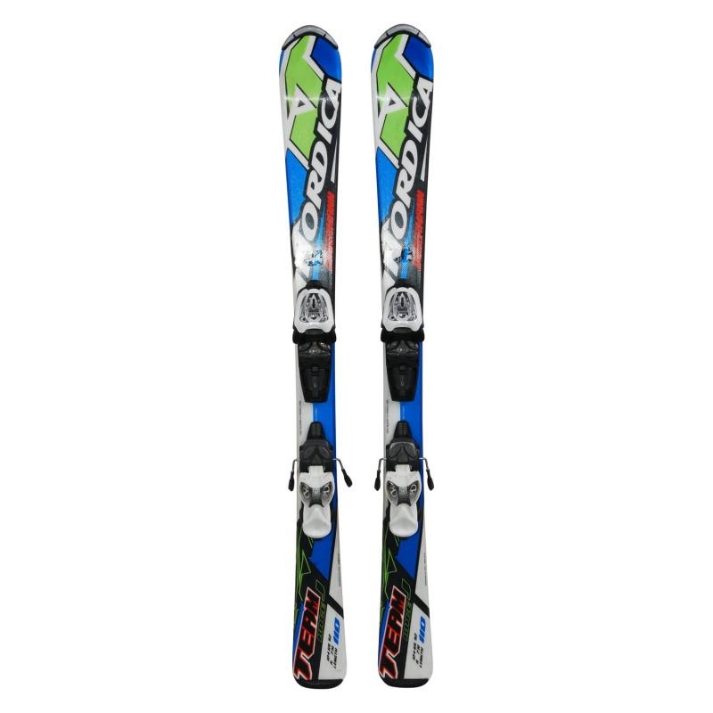Ski occasion junior Nordica Dobermann team race J bleu/vert/rouge + fixations - Qualité A